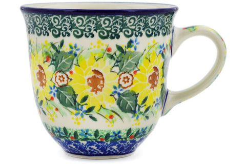 Polish Pottery 10 oz Mug Yellow Garden UNIKAT