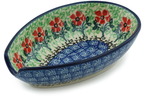"Polish Pottery 5"" Spoon Rest Maraschino"