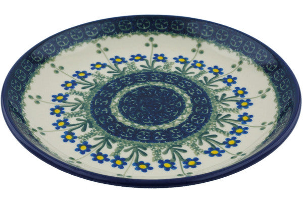 Polish Pottery Dessert Plate Blue Daisy Circle