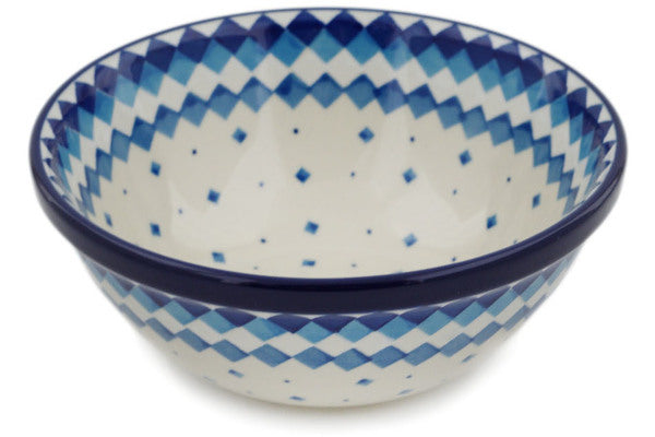 "Polish Pottery 6"" Bowl Geometric Winter"