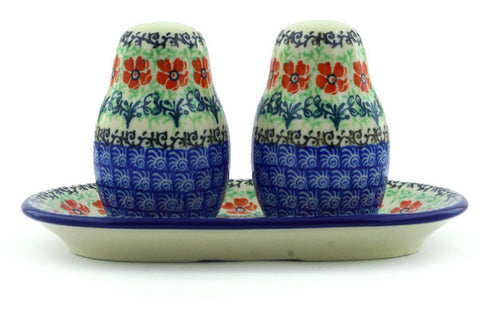 Polish Pottery Salt and Pepper 3-Piece Set Maraschino