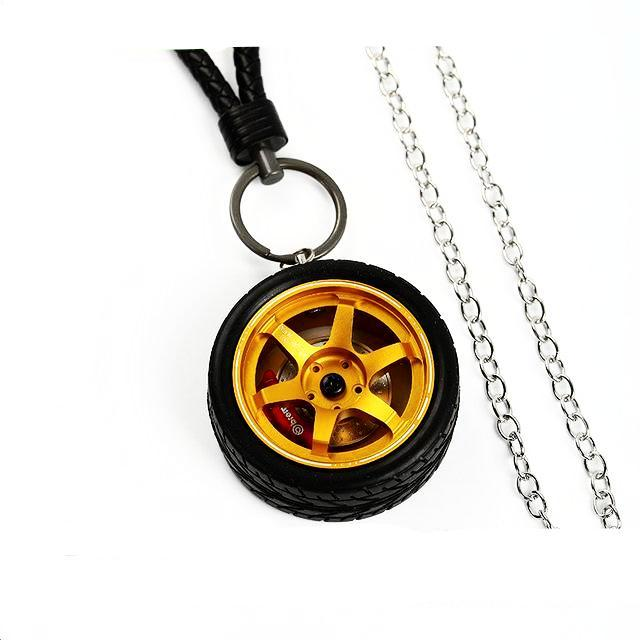 Te37 Style Wheel Rim Keychain - Tire Set Gold - Accessories
