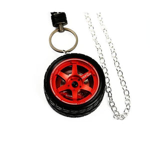 Te37 Style Wheel Rim Keychain - Tire Set Red - Accessories