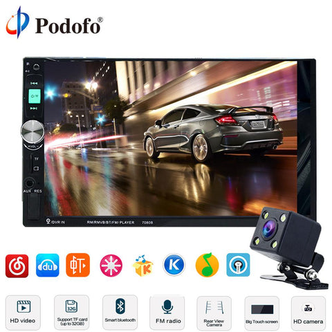 Podofo 7 Hd Touch Screen Car Radio 2 Din+Rear Camera - Other