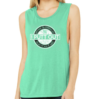 I Putt Out Women's Flowy Scoop Muscle Tank (Tri-blend) | Stymie Clothing Company