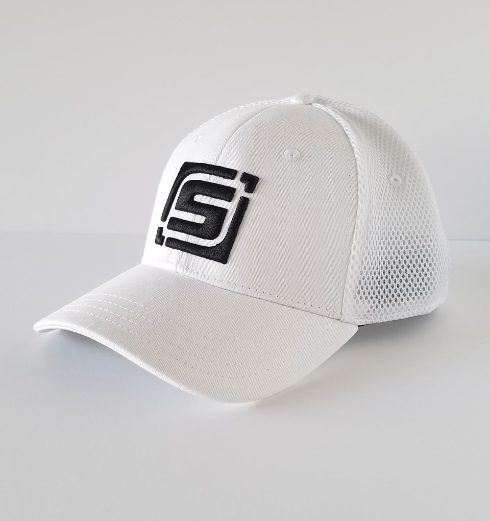 White Fitted Golf Hat w  Sport Mesh Back (by Pukka)  16ebed37e4a