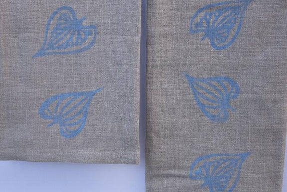 Natural Linen Leaf Tea Towel Set