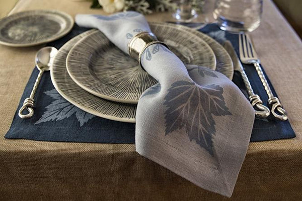Midnight Blue Oak Leaf Napkin