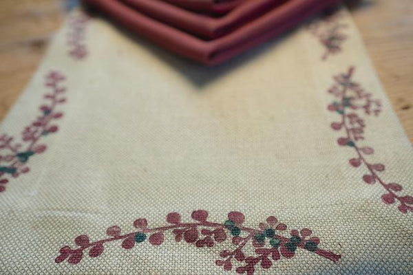 Red Berry Hand-Printed Table Runner