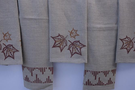 Tea Towel Set Linen Fall Leaf