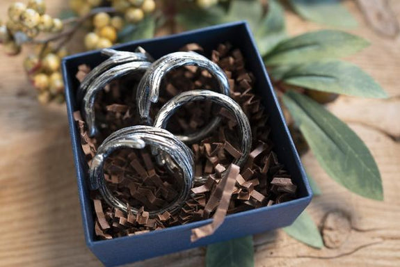 Tara Pewter Napkin Ring - Boxed Gift Set of 4