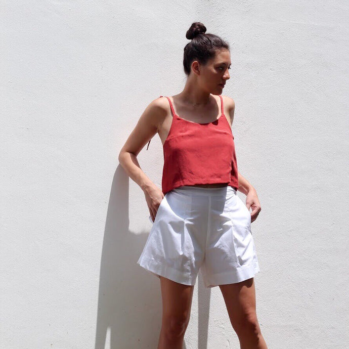 CRESCENT crop top | rust