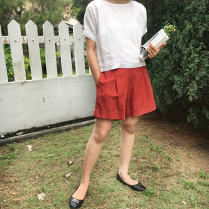 linen shirt paired with rust tencel linen utility shorts and black flats summer resort holiday relax capsule collection malaysian ethical fashion sustainable clothing