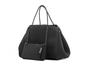 lightweight black neoprene bag with beauty case
