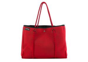 Red neoprene handbag