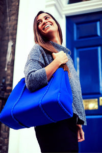 Blue neoprene handbags for winter