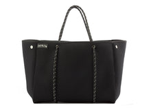 black neoprene gym tote bag with beauty case