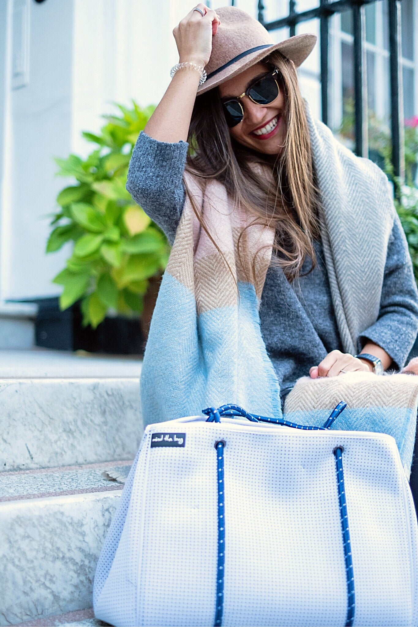 White and Blue neoprene handbag