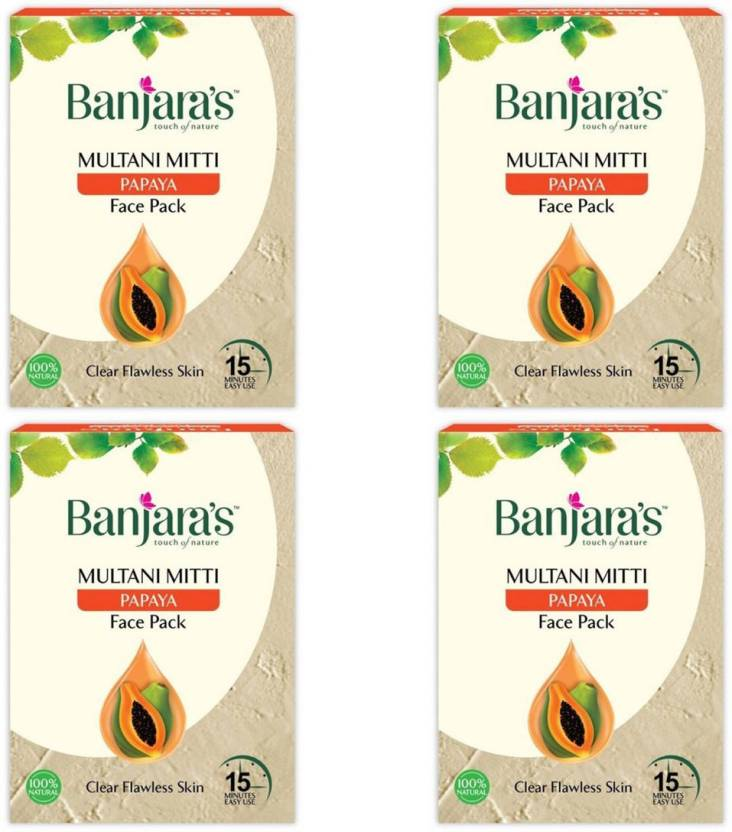 Banjara's Multani Mitti Papaya (Pack Of 4)Face Pack (100 g)