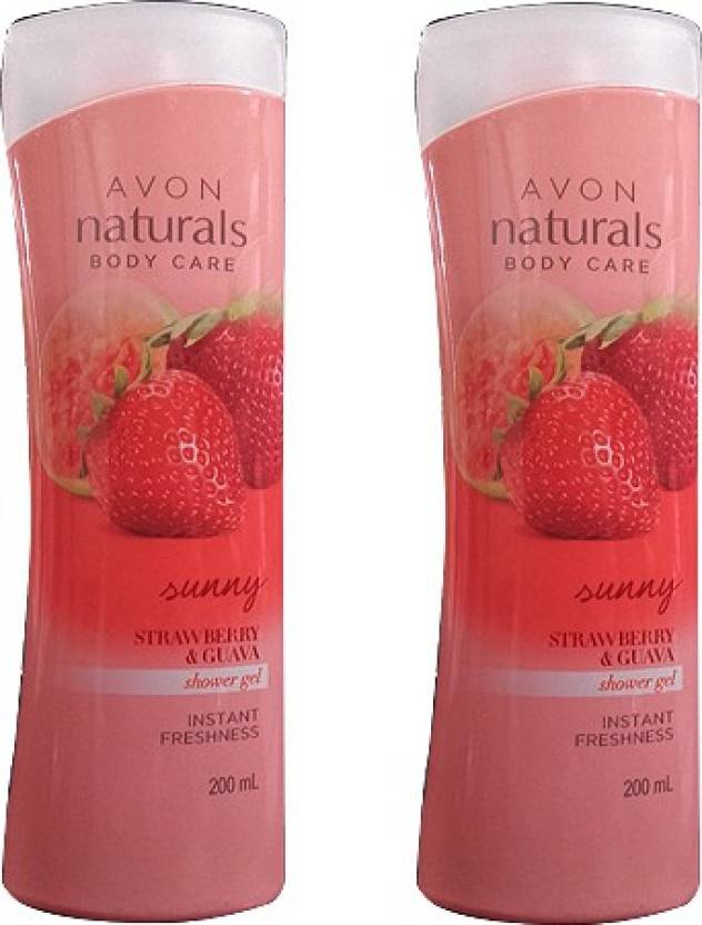 Avon Naturals Body Care Sunny Strawberry & Guava Insyant Freshness Pack of 2 (400 ml, Pack of 2)
