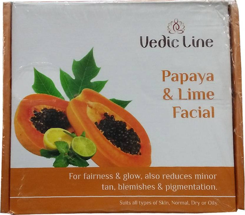 Vedic Line Papaya & Lime Facial Kit For Fairness & Glow 640 ml (Set of 6)