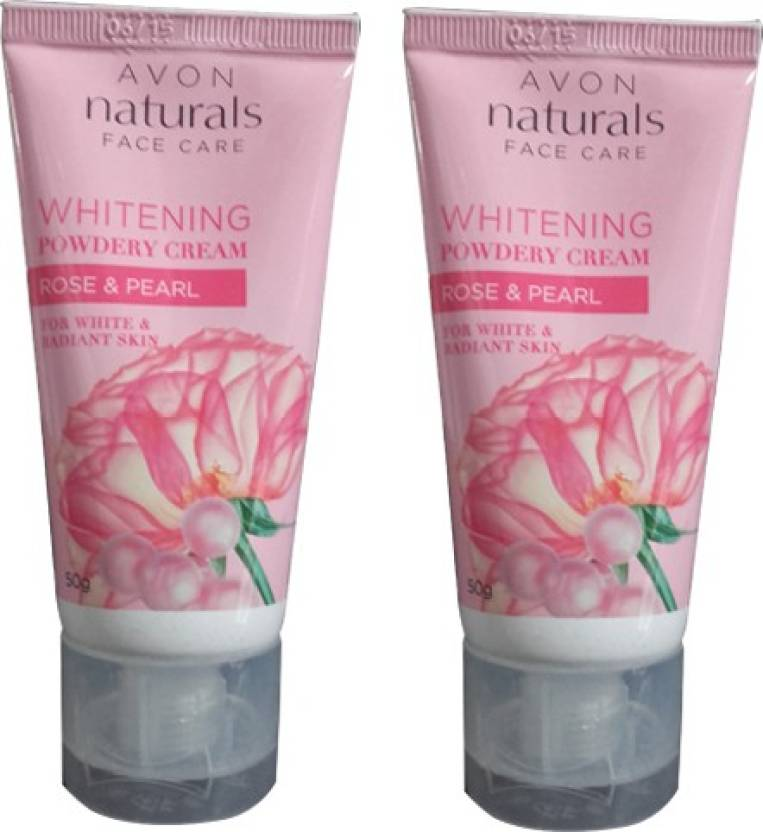 Avon Natural Whitening Powdery Cream, Rose & Pearl Pack of 2 (100 g)