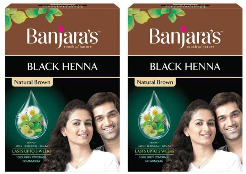 Banjara's Black Henna (pack of 2) Natural Brown Hair Color (Brown)