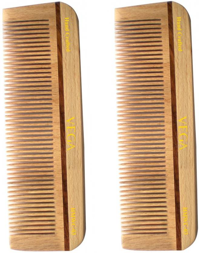 Vega Hand Made Wooden Comb HMWC 03 Pack of 2