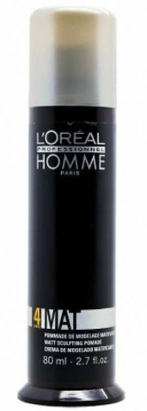 L'Oreal Professionnel Homme Force 4 Mat-Sculpting Pomade Hair Styler (Black)