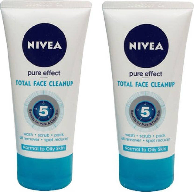 Nivea Pure Effect Total Face Cleanup Pack Of 2 Face Wash (50 ml)