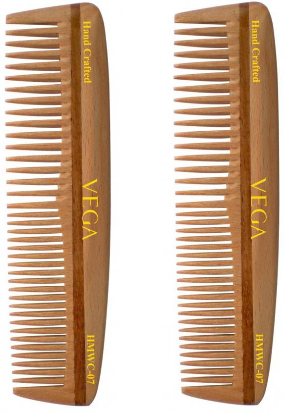 Vega Pocket Wooden Comb HMWC 07 Pack of 2