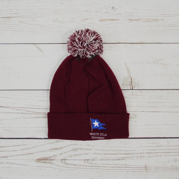 Cow Bobble Hat Burgundy