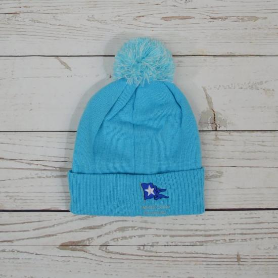 Cow Bobble Hat Surf Blue