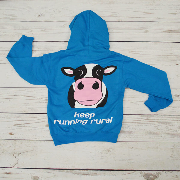 Cow Over Head Kid's Hoody Sapphire Blue