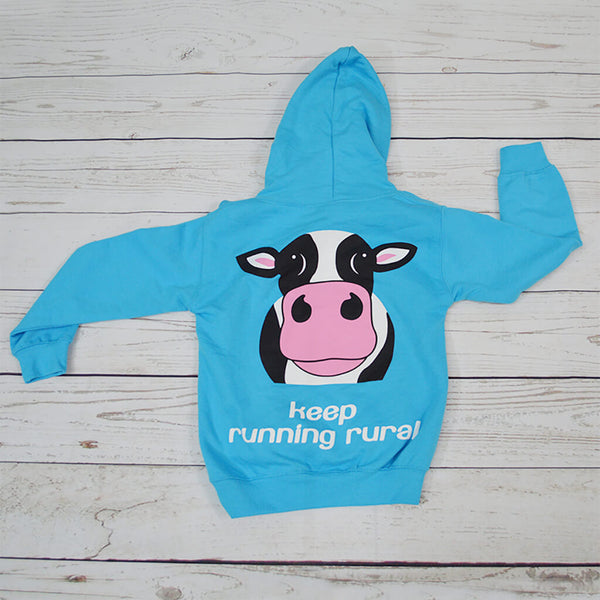 Cow Over Head Kid's Hoody Hawaiian Blue