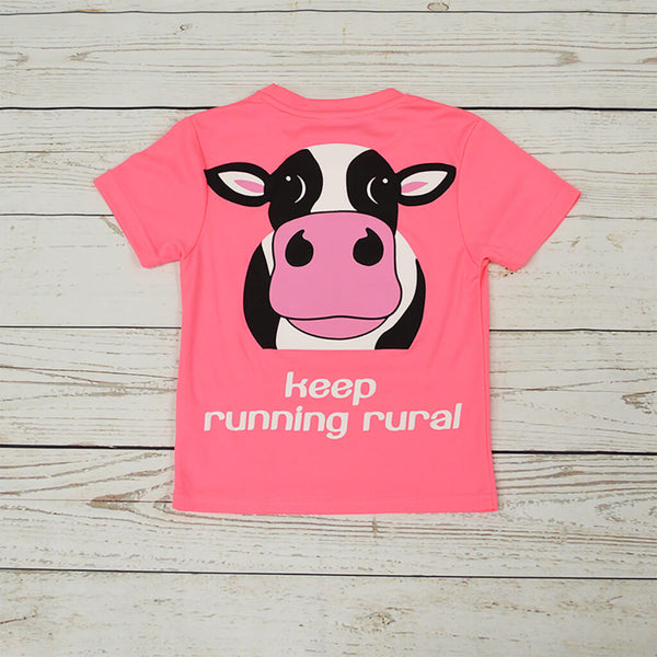 Cow Kid's Technical T-shirt Electric Pink