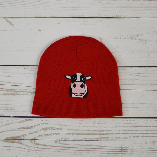 Cow Beanie Hat Red