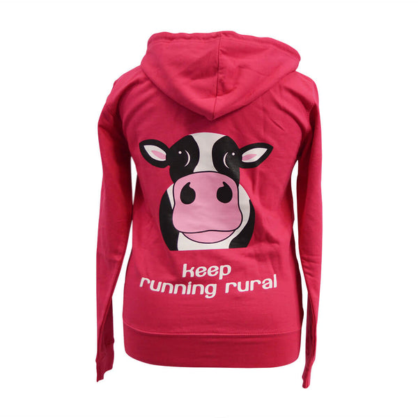 Cow Zip Up Women's Hoody Hot Pink Cow Logo