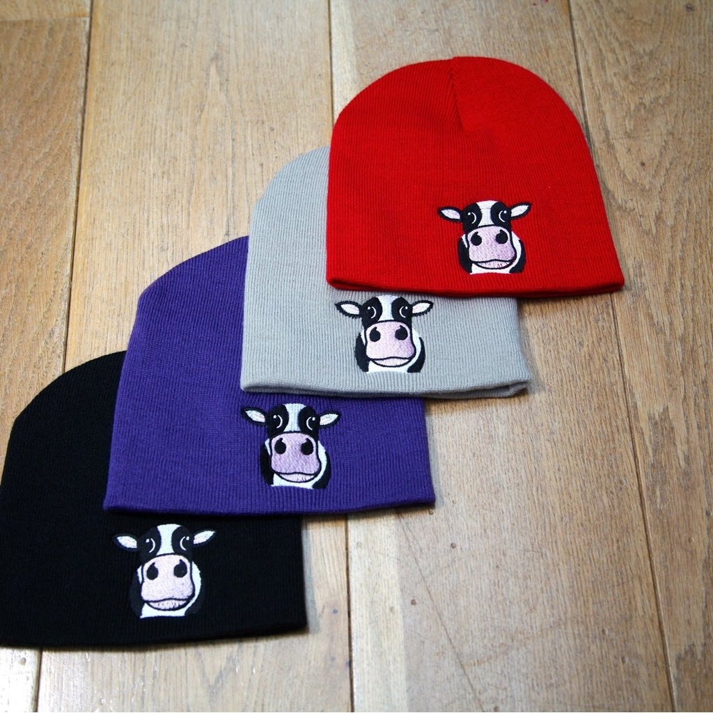 Cow Beanie Hat Stone  be6effdb5d1