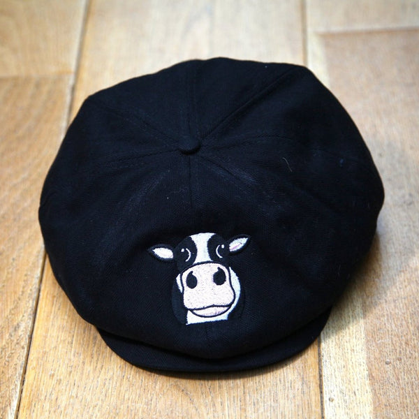 Cow Flat Cap Black Large/Extra Large
