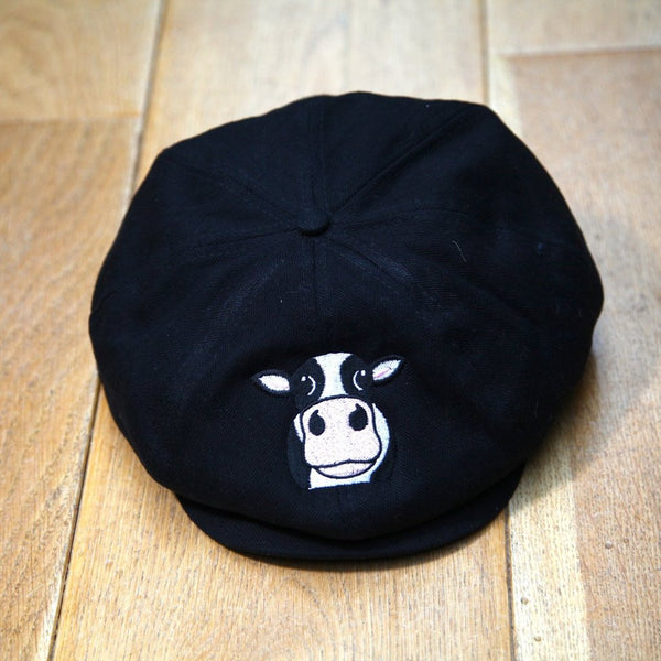 Cow Flat Cap Black Small/Medium