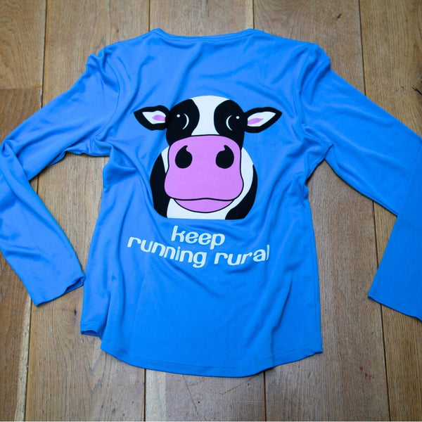 Cow Women's Technical Long Sleeve Top Sapphire Blue