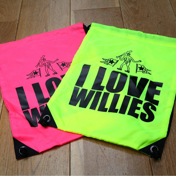 I Love Willies Drawstring Bag Pink