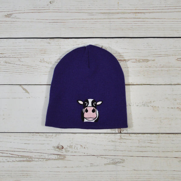 Cow Beanie Hat Purple