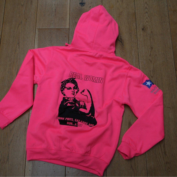 Real Women Over Head Hoody Electric Pink & Embroidered Flag