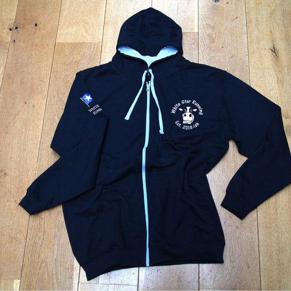 Tour Zip Up Hoody Navy & Sky Blue with Embroidered Cow