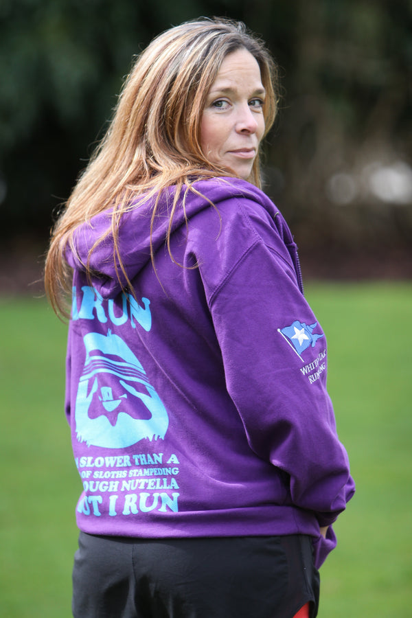 Sloth Zip up Hoody Purple & Blue with Embroidered Flag