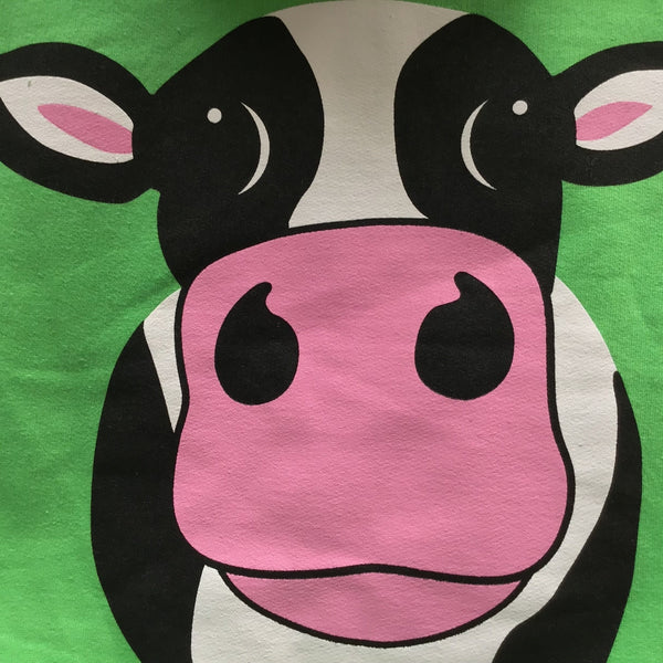 Cow Over Head Hoody Lime Green