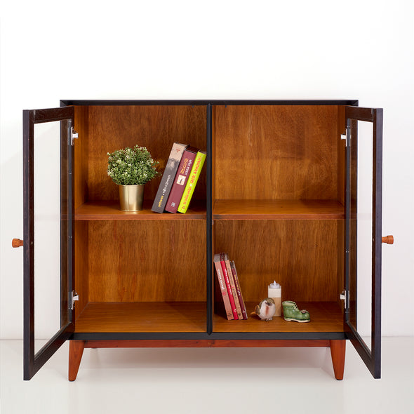 40in Mid-Century Modern Showcase - Teak & Black (৪ কুঠুরি ২ দরজা)