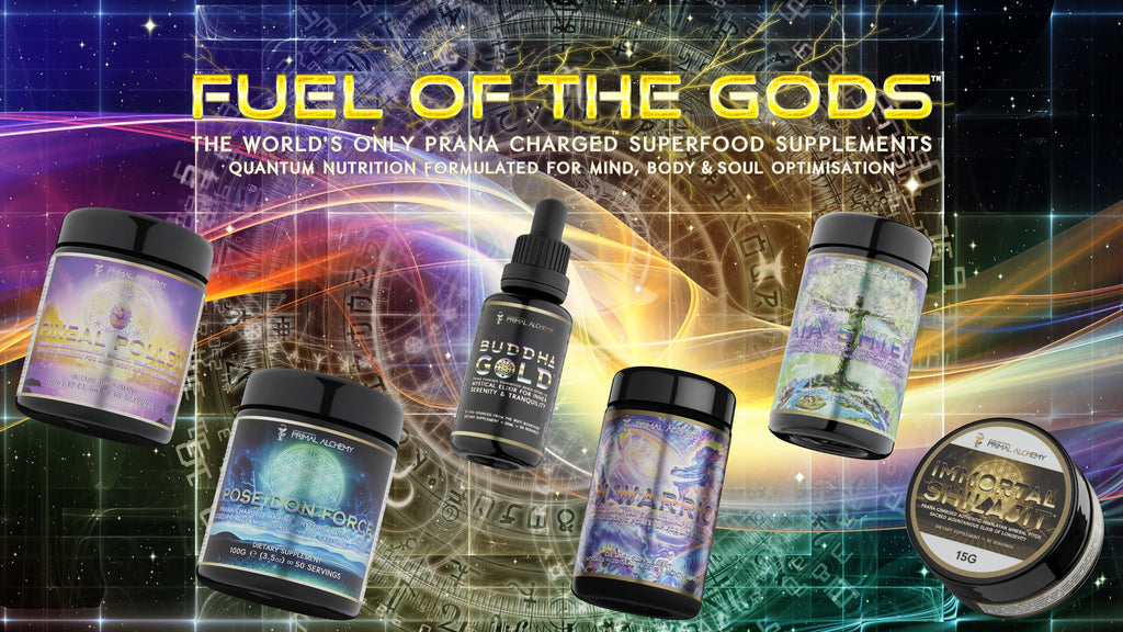 fuel of the gods Prana Charged superfood supplements pineal pollen pine pollen chaga shilajit marine phytoplankton reishi spore oil lions mane mushroom extract ashwagandha pre workout